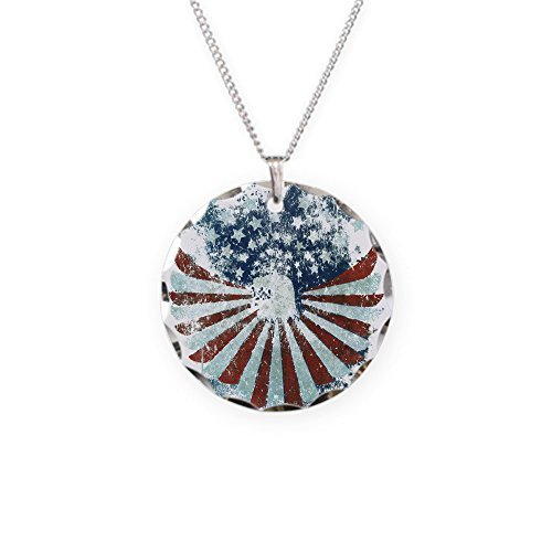 (Necklace Circle Charm US Flag Eagle Military American Pride)