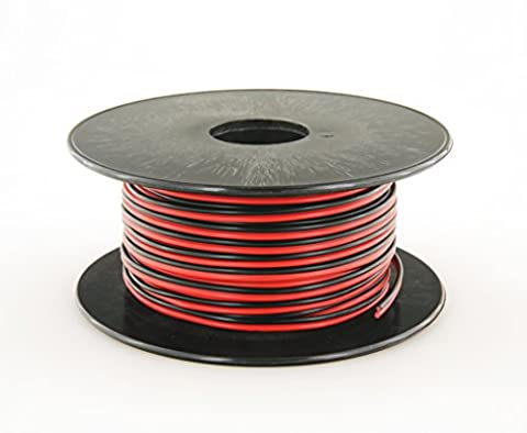 GS Power's True 22 Gauge (American Wire Ga) 100 feet 99.97% OFC stranded oxygen free copper, Red / Black 2 Conductor Bonded Zip Cord Power / Speaker Cable for Car Audio, Home Theater, LED strip - 2 Conductor Audio