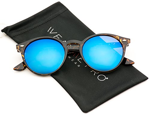 WearMe Pro Classic Small Round Retro Sunglasses, Tortoise / Mirror - Sunglasses Blue Tortoise