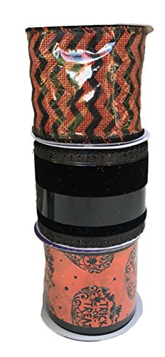 (Trick or Treat Pumpkins Black Velvet and Orange and Black Zig-Zag Bundle of Three Halloween Themed Ribbons)