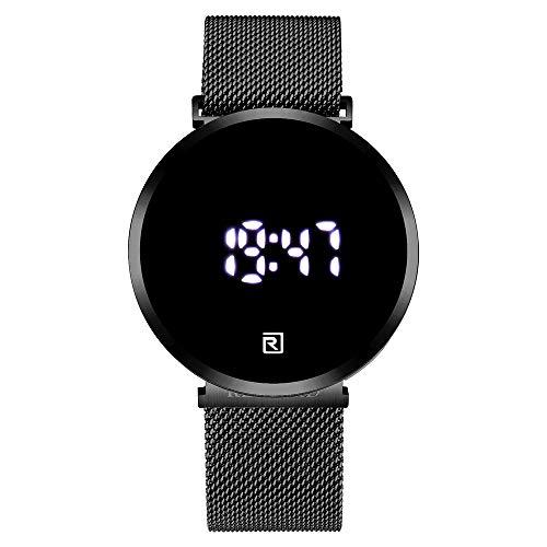 🥇 Shalwinn Reloj LED para Hombre Pantalla táctil Pantalla Digital Reloj electrónico Moda Cuarzo Casual Reloj Impermeable de Acero Inoxidable Unisex