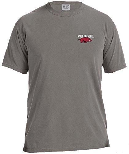 NCAA Arkansas Razorbacks Inside Logo Short Sleeve Comfort Color Tee, X-Large,Grey