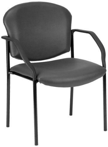 OFM Manor Series Deluxe Vinyl Stacking Guest Chair, Charcoal by OFM