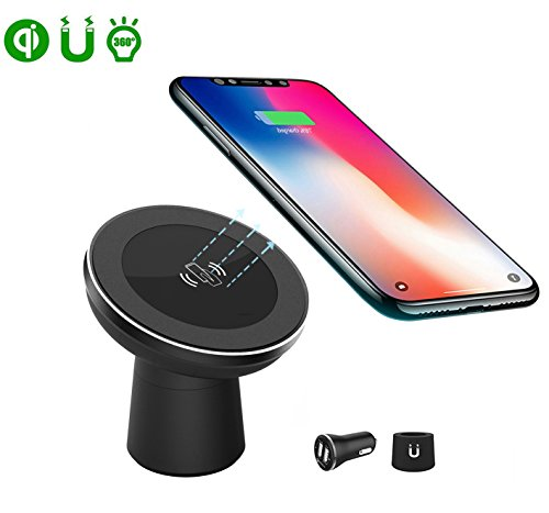 Magnetic Wireless Car Charger,Qi Wireless Charger Car Mount/Phone Holder,Air Vent/Dashboard/Desktop for Samsung Note 8/S8/S7 and iPhone X/iPhone 8 Plus,Qi Enabled Devices
