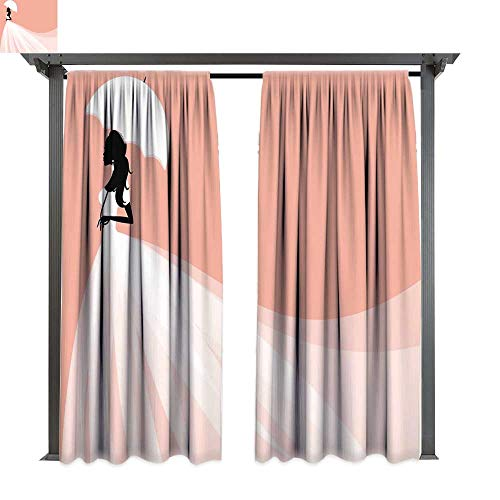 Bridal Shower Decorations, Exterior/Outside Curtains, Bride in Abstract Romantic Wedding Dress with Umbrella Art, for Patio Light Block Heat Out Water Proof Drape (W96 x L84 Inches Salmon and ()