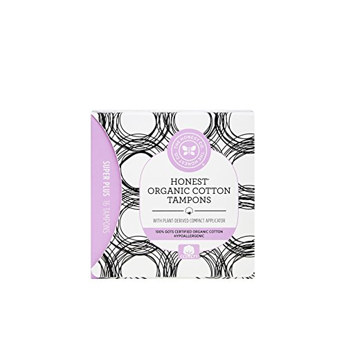 The Honest Company Organic Cotton Tampons with Plant-Based Compact Applicator, Super Plus, 16Count ()