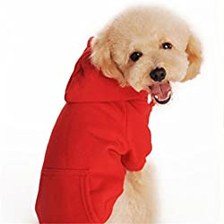 Puppy Clothes,Haoricu Autumn Winter Warm Coat Chiens Dog Sweater Shirt Pet Clothes Clothing Puppy Coat Cat Custome Sweater Shirt (S, Red)