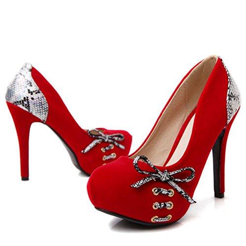 TAOFFEN Women Club Stiletto Pumps Shoes Platform Red 3EVIeWHh
