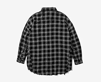 Mens Oversized Plaid Shirt Button-Up Cotton Long Sleeve