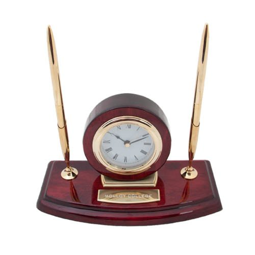 Molloy Executive Wood Clock and Pen Stand 'Molloy College Flat Engraved'