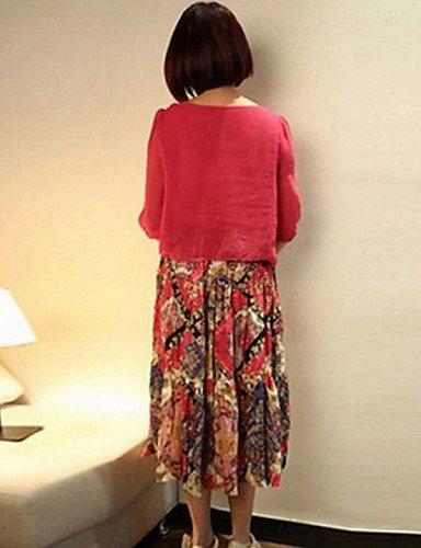 PU&PU Robe Aux femmes Ample Street Chic,Imprimé Col Arrondi Midi Polyester , pink-l , pink-l