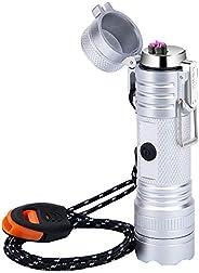 Waterproof Lighter USB Plasma Lighter Rechargeable Electric Lighter Waterproof with Flashlight Flameless Light