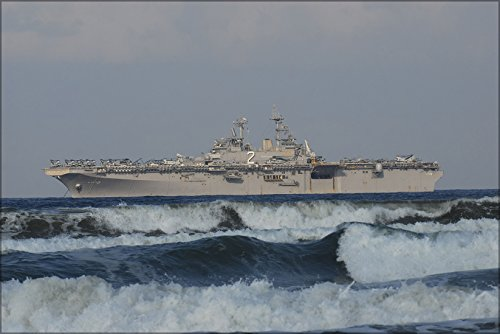 42x63 Poster; Amphibious Assault Ship Uss Essex (Lhd 2) At Anchor