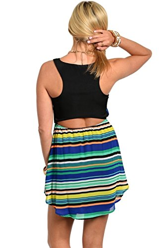 2LUV womens Sleeveless Striped Dress with Back Cutout Black & Blue S (D528)