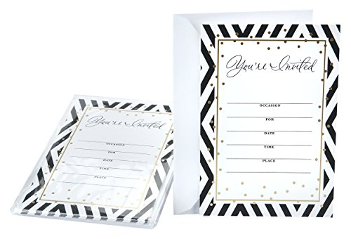 Hallmark Invitation Cards (Black and White Chevron Stripes)