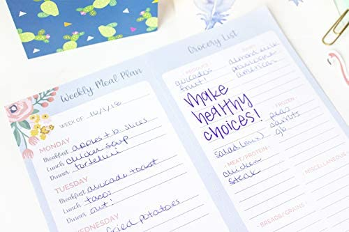 """bloom daily planners Weekly Magnetic Meal Planning Pad for Fridge with Tear-Off Grocery Shopping List - Hanging Food/Menu Organizer Notepad with Magnets - 8.5"""" x 11"""""""