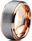 Charming Jewelers Tungsten Wedding Band Ring 10mm Men Women Comfort Fit 18k Rose Gold Grey Step Bevel Edge Brushed Polished Size 8