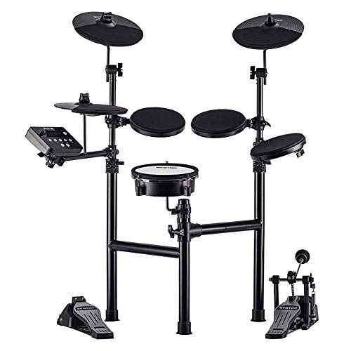 HXW Drums Electronic Drum Kit SD61-2 Electric Drum Set, Dual-zone Mesh Snare and Cymbal Pad with Choke, Support USB-MIDI, Super-solid Metal Rack, With Drum Sticks