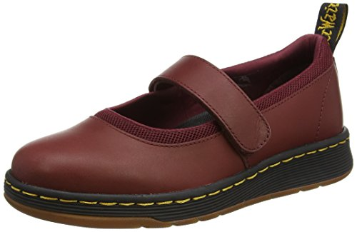 Dr. Martens Women's Askins Mary Janes, Red, Leather, Mesh, Rubber, 3 M UK, 5 M US