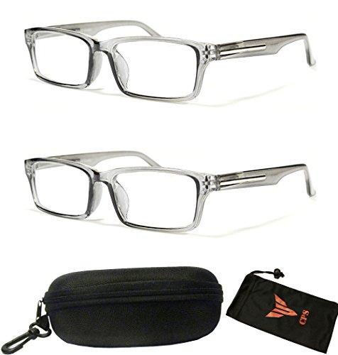 Silver Transparent Frame (2 Pairs Transparent Gray Clear Rectangular Fashion Casual Retro Silver Trim Reading Glasses (Strength : +2.00))
