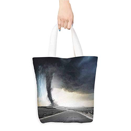 Washable Grocery Tote with Pouch,Nature,Black Tornado Funnel Gas and Lightning Rolling on the Road Fume Disaster Monochrome Print,Reusable Grocery Bags,Grey