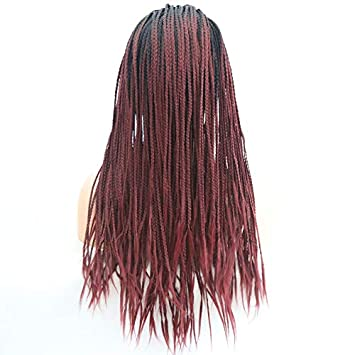 Hair Cap+26   Braided Lace Wigs Ombre Red Hair for Women Synthetic Heat 02a2329008c8