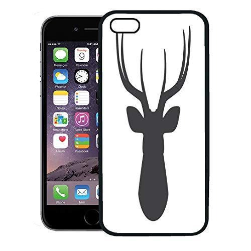 (Semtomn Phone Case for iPhone 8 Plus case,Buck Black Silhouette of Deer Head on Stag Wildlife Animal Antler Clip iPhone 7 Plus case Cover,Black)