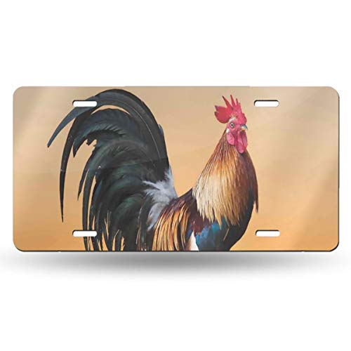 NELife License Plate Rooster Sunrise Vintage Aluminum Sign Novelty Tag Plaque Wall Decor for Truck Car Vehicle Auto Car Moped Key Chain Garage Bedroom Baby Room 12 X 6 Inch ()