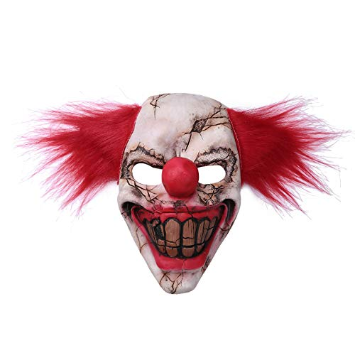 iEFiEL Adults Creepy Demon Mask Scary Face Clown Cosplay Props Devil Flame Zombie Mask Red One Size ()