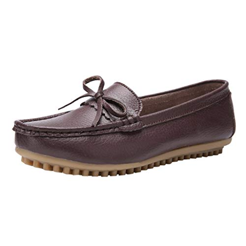 Aunimeifly Women's Soft Bottom Comfortable Flat Bow Knot Decorative Peas Shoes Mother Casual Imitation Leather Moccasin Coffee