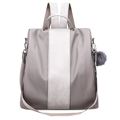 Clearance Sale! ZOMUSA Women Girls Fashion Mini Backpack Shoulder Bag Solid School Bags With Fur Ball (Gray )