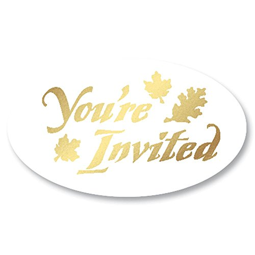Embossed Oval You're Invited Gold Foil on Clear Envelope Seals with Autumn Leaves, 1 3/8 Inch, 30 Count