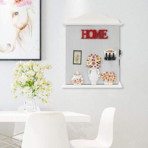 Wall Mounted Key Box Faux Wood Key Holder Key Storage Box Cabinet Hooks Rack Organizer with 10 Hangers for Home Decor with 6 Hanger for Home Decor