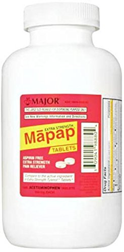 Major Pharmaceuticals 100442 Mapap Extra Strength Analgesic Tablet, Compare to Tylenol, 500 mg, White (Pack of 1000)