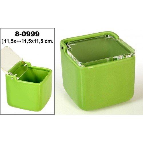 Salero cuadrado de cer/ámica con tapa acr/ílica decorado en color verde. DonRegaloWeb