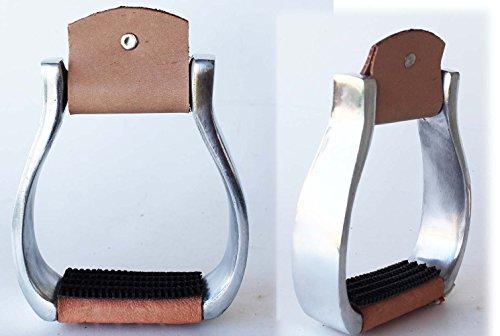 PRORIDER Horse Saddle Western Aluminum Stirrups 2″ Leather Tread Youth Stirrups 51142