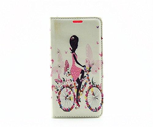 Uming® Retro patrón de colores de impresión de la PU del Caja Caso Case Cover [ para IPhone 4S 4 4G IPhone4S IPhone4 ] Colorful Pattern Stand Holder Holster el modelo colorido pistolera del tirón con  Cycling