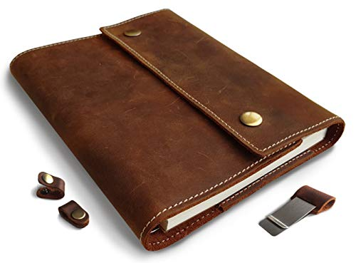 (Albero Refillable Genuine Leather Journal with Spiral Bound Lined Notebook, A5 8.6x6.6 Inches, Brown Vintage Diary, Lay Flat 240 Pages for Travelers, Business and Writing)