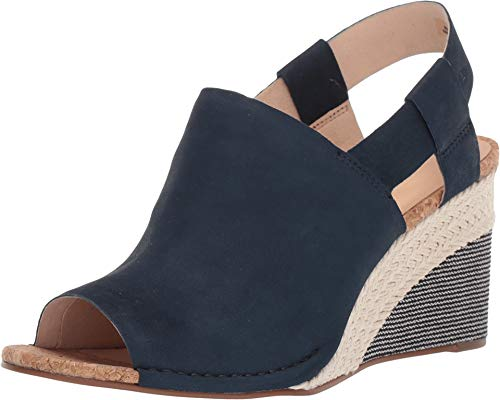 CLARKS Womens Spiced Bay Wedge Sandal, Navy Combi, Size 8.5