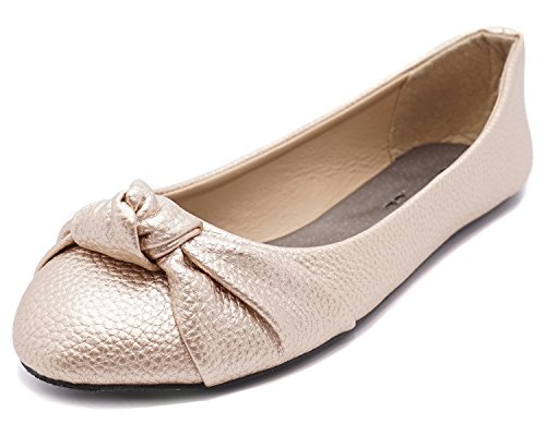 Rose Gold Ballet Slippers - Charles Albert Women's Knotted Front Canvas Round Toe Ballet Flats (8, Rose Gold)