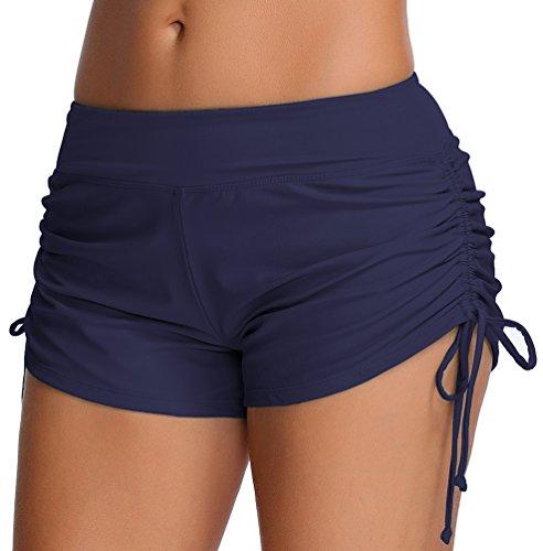 OLIPHEE Dames zwemshorts bikinibroek watersport hotpants verstelbaar koord banden zwemshorts kleurrijke kleuren