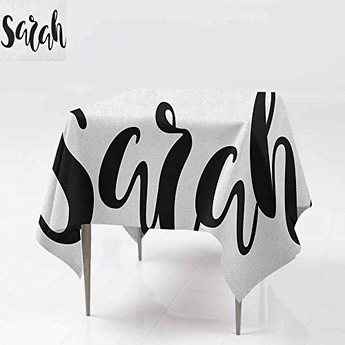 (AndyTours Spillproof Tablecloth,Sarah,Monochrome Popular Female Name Modern Calligraphy Hand Drawn Signature Lettering,Great for Buffet Table, Parties& More,60x60 Inch Black and White)