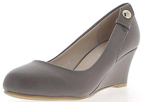ChaussMoi Chaussures Femme Compensées Grises Bouts Ronds à Talon DE 6 CM