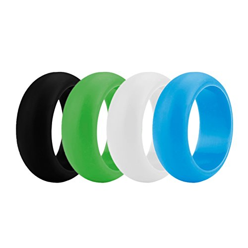 (Price/4 Pcs) GOGO Men's Silicone Wedding Rings Pack - 9 mm Wide (3 mm Thick) - Black, Cyan
