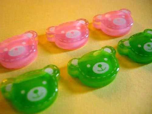 Green Baby Bear Candy Head Flatback Button//Craft//Embellishment//Bow 20 Pink