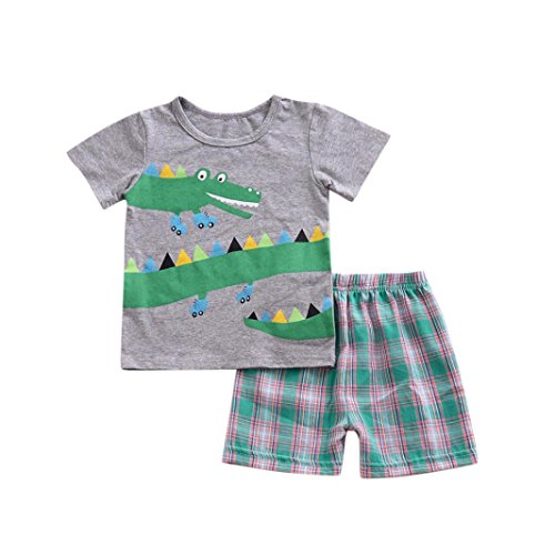 Moonker Child Toddler Baby Boys Summer Outfits Clothes Cartoon Print T Shirt Tops Plaid Shorts Pants Set 1-6T (4-5 Years Old, Gray) from Moonker