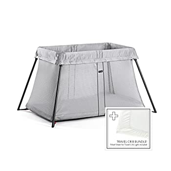 Image of BABYBJORN Travel Crib Light - Silver + Fitted Sheet Bundle Pack Home and Kitchen