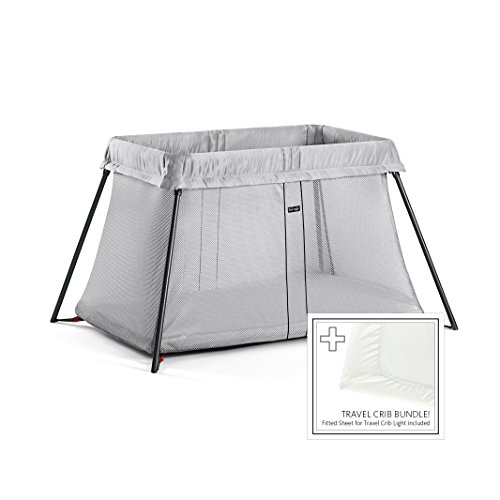 BABYBJORN Travel Crib Light - Silver + Fitted Sheet Bundle Pack