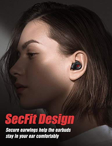 Bluetooth 5.0 True Wireless Earbuds, Sports in-Ear Truly Wireless Bluetooth Headphones Deep Bass Low Latency Instant Pairing IPX5 Sweatproof Stereo Call w/Mic Mini Headset Earphones, Running Workout