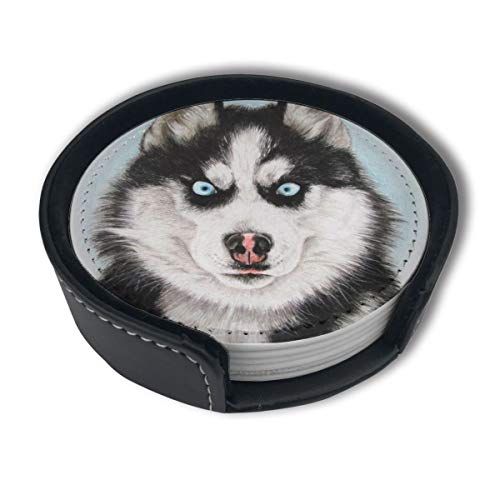 UJNB-Home Fierce Husky PU Leather Coaster Set For Mugs And Cups 6pc
